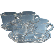 Candlewick 2 Sizes Sugar Bowl Creamer Tray Set Sets Vintage Imperial Glass