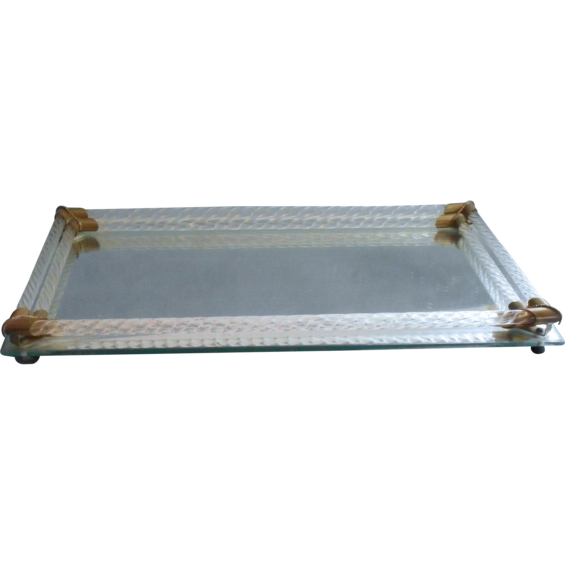 Antique vanity tray with lace insert - Vintage Glass Mirror Perfume Tray 1930s To 1940s Vanity