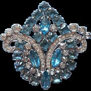 Vintage Aqua Rhinestones Large Brooch Pin