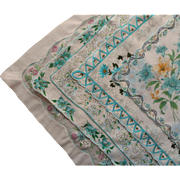 Aqua Hankies Floral Prints All 5 Vintage Cotton Print Printed
