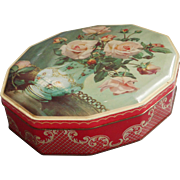 English Toffee Tin Vintage Red Aqua Pink Roses Candy