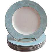 1950s Turquoise Melody Vintage 6 Plates Homer Laughlin China Cavalier