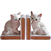 1950s Lefton Persian Cat China Bookends Vintage Pair