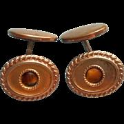 Antique Cufflinks Tiger Eye Stones