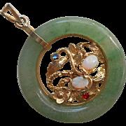 1960s Jade Opal Pendant Vintage Gold Plated