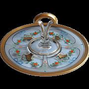 1920s Enameled Glass Center Handle Tidbit Cake Serving Plate Tea Luncheon Table