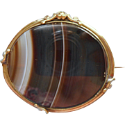 Large Antique Banded Agate Brooch Pin