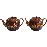 Pair Gibson Tortoise Glaze Gold Teapot Vintage Teapots Brown English China