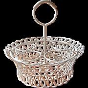 Wire Work Flower Pot Holder Basket Vintage Painted Metal