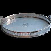 Edwardian Era Tray Glass Nickel Silver Antique Serving Gallery Rim Cut Star
