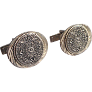 Vintage Cufflinks Sterling Silver Mexico Aztec Calendar Signed