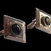 Vintage Thai Cufflinks Sterling Silver Midcentury Black Stones