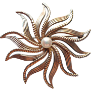 Vintage Cultured Pearl Gold Filled Van Dell Starburst Pin Brooch So Ladylike