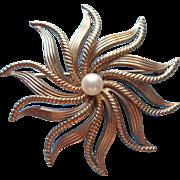 Vintage Cultured Pearl Gold Filled Van Dell Starburst Pin Brooch So Ladylike