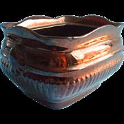 Copper Luster Redware China Sugar Bowl Base Vintage To Antique