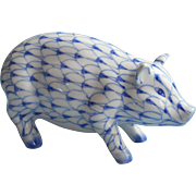 Andrea By Sadek China Pig Boar Figurine Blue Fishnet Hand Painted