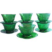 Vintage Sandwich Anchor Hocking Forest Green Custard Cups Liners Plates Glass Set