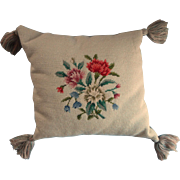Vintage Needlepoint Pillow Pale Blue Green Bright Flowers