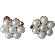 Vintage Cultured Pearl Cluster Gold Filled Earrings Screw Back