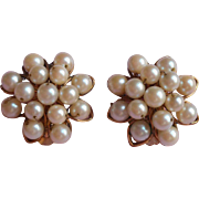 Vintage Cultured Pearls Gold Filled Earrings Cluster Signed H. G.