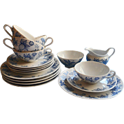 Vintage Coffee Tea Set China Bavarian Schirnding Blue White Cups Plates