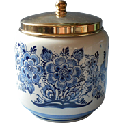 Vintage Delft Dutch Jar Humidor Tobacco China Goedewaagen Vintage