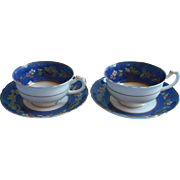 1920s Tuscan Enameled Hand Painted China Vintage Cups Saucers Cobalt Blue English