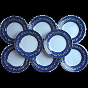 1920s Tuscan Enameled Hand Painted China Vintage Dessert Plates Cobalt Blue English