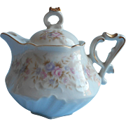 Lefton Teapot Vintage Individual Size Pink Purple Roses China Victorian Revival Molding
