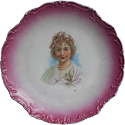 Antique Portrait Plate Pink China Pretty Lady Blonde Curls Ribbons Lace Pearls