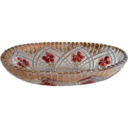 Cranberry Ruby Stain Antique Pressed Glass Indiana Flower Medallion Relish Dish