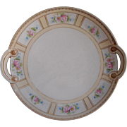 1920s Noritake Hand Painted Serving Plate Pink Roses Gold Dessert