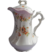 Chocolate Pot Antique China Pink White Orange Poppies Coffee Pot Teapot