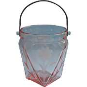 Pink Depression Glass Ice Bucket Wheel Cut Flowers Dots Vintage