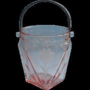 Pink Depression Glass Ice Bucket Wheel Cut Flowers Dots Vintage