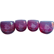 Cranberry Roly Poly Glasses Cut To Clear Cockatil Glass Vintage 4