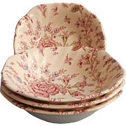 Rose Chintz Vintage Johnson Brothers England 4 Bowls Cereal