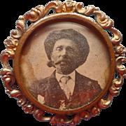 Antique Photo Pin Ornate Frame Glass Gentleman Smoking Pipe