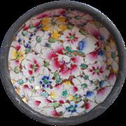 Vintage Japanese Porcelain Trinket Bowl Encased in Pewter Decorated Hong Kong