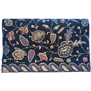 Vintage Purse Gold Silver Metal Thread Hand Embroidery India Clutch Black Velvet