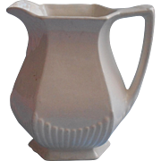 Adams Ironstone Pitcher Vintage English England All White Ribbed Decoration Wm. Adams Sons