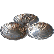 Shell Form Silver Plated Tripartite Candy Nuts Dish Ornate Handle Vintage