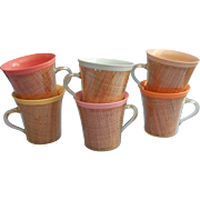 Vintage Raffia Ware Melmac Mugs Cups Flared Rim Set 6 Pastels - Red Tag Sale Item