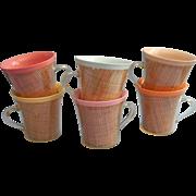 Vintage Raffia Ware Melmac Mugs Cups Flared Rim Set 6 Pastels