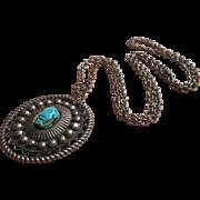Vintage Alpaca Silver Pendant Necklace Southwestern Concho Look