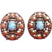 Vintage Weiss Earrings Antiqued Gold Finish Luster Turquoise Color Glass Stones