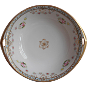Nippon Serving Bowl Hand Painted Pink Roses Sky Blue Gold Antique 1910s to 1920s