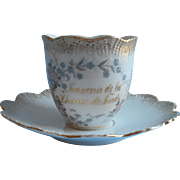 Antique French Souvenir Cup Saucer China Swiss Chaux De Fonds Forget me Nots
