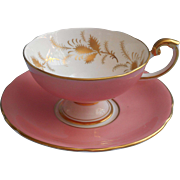 Aynsley Pink Gold English Bone China Cup Saucer Vintage 1950s