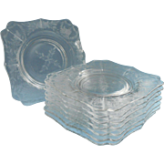 Square Dessert Plates Foral Cut Glass Set 8 Vintage